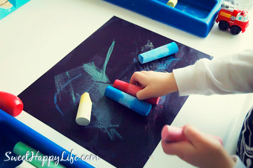 Sidewalk Chalk in the Winter - Indoor Toddler Activity