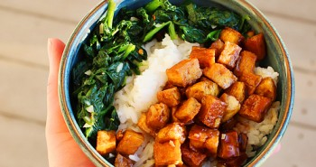Maple-Glazed Tofu with Sticky Rice and Greens