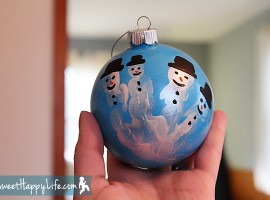 DIY Snowman Christmas Ornaments (Handprint Craft!)