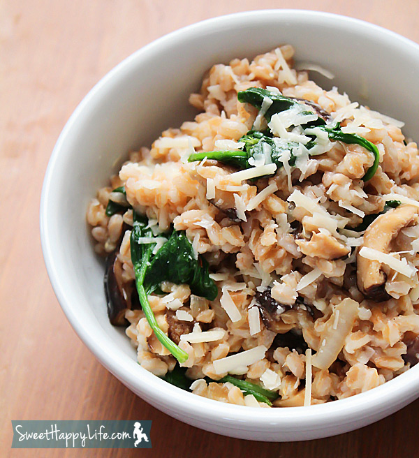 Farro with Shiitake Mushrooms and Baby Spinach