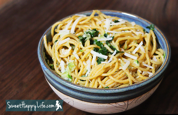 Spaghetti with Spinach and Zucchini