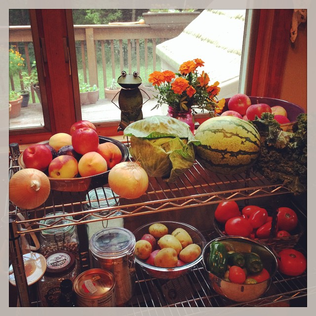 Between the garden and the farm, today was a good harvest day.